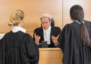 Lawyers speaking with the judge